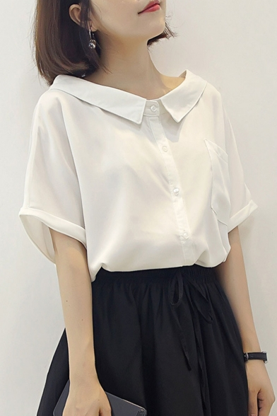 Summer Sweet Girls Peter-Pan Collar Rolled Sleeve Plain Button Down Chiffon Shirt