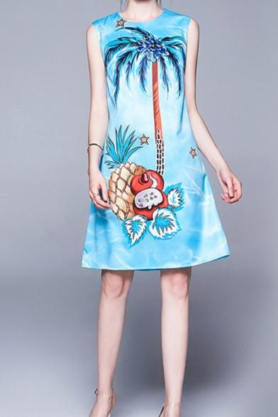 Summer Womens Sky Blue Round Neck Sleeveless Pineapple Coconut Print Midi Swing Tank Dress