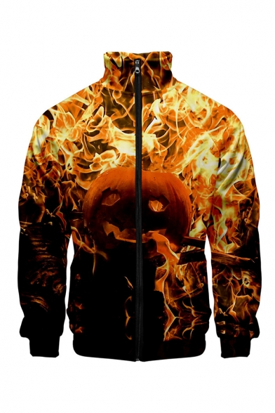 Unique One Piece Halloween Fire Pumpkin Pattern Stand Collar Long Sleeve Zip Up Baseball Jacket