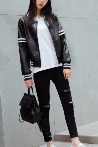 Women's Causal White Stripe Printed PU Leather Zip Up Mechanic Jacket