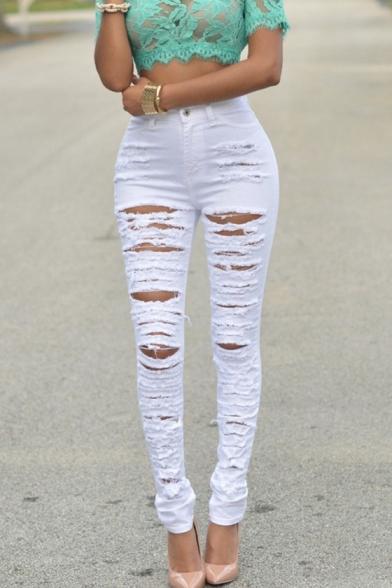 Women's Fashion Ripped High Waist Plain Skinny Pencil Pants