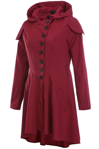 Women's Wine Red Solid Color Single Breasted Long Sleeve Swallowtail Longline Simple Hooded Coat