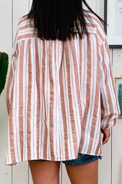 Womens Classic Pink Striped Print Long Sleeve V-Neck Loose Casual Shirt Blouse