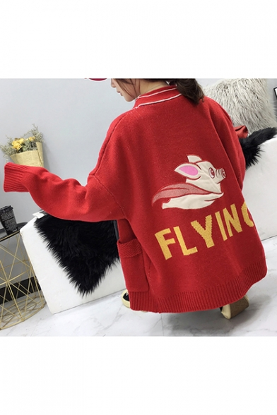 Womens Cute Pig FLYING Letters Print V-Neck Drop Sleeve Boxy Cardigan with Pockets LM556975 фото