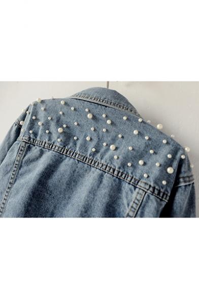Womens Fancy Chic Beading Embellished Long Sleeve Blue Crop Denim Jacket