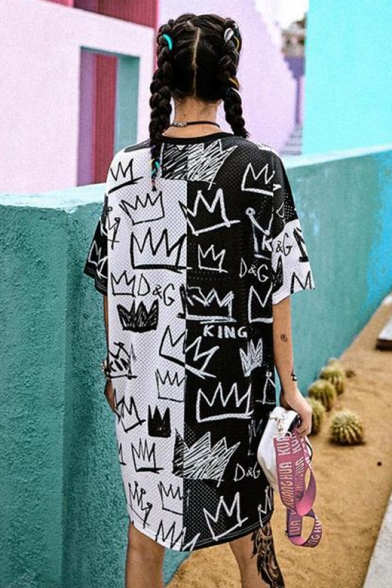 Womens Fashion Round Neck Short Sleeve Black And White Graffiti Print Letter Loose Shift T-Shirt Midi Dress