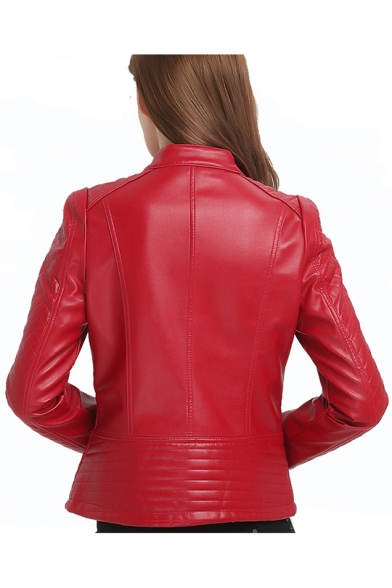 Womens New Stylish Red Stand Collar Long Sleeve Zip Up Slim Fit PU Jacket