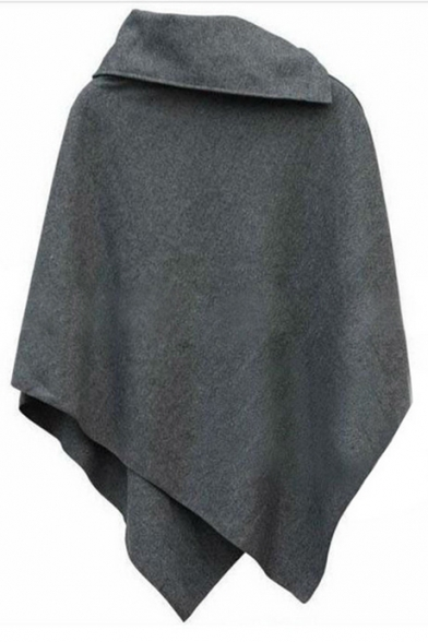 Womens New Stylish Simple Plain Asymmetrical Hem Poncho Coat