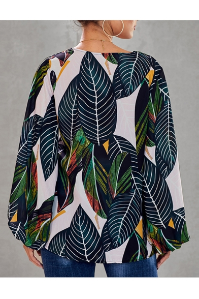 Womens Summer Holiday Tropical Leaf Printed V-Neck Blouson Long Sleeve Loose Casual Blouse