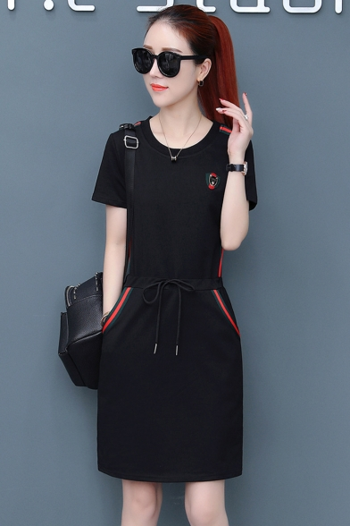 Womens Summer Round Neck Short Sleeve 3-Stripe Ruched Pockets A-Line Midi Dress