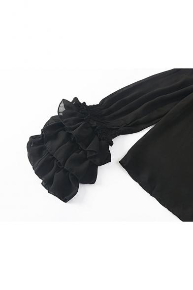 Womens Trendy Black Ruffled Long Sleeve Transparent Black Off Shoulder Chiffon Blouse Top