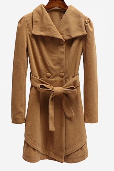 Womens Trendy Plain Turn-Down Collar Long Sleeve Tied Waist Longline Wool Coat