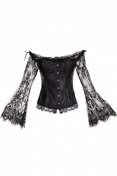 Womens Vintage Off the Shoulder Lace Long Sleeve Shapewear Corset Victoria Blouse Top