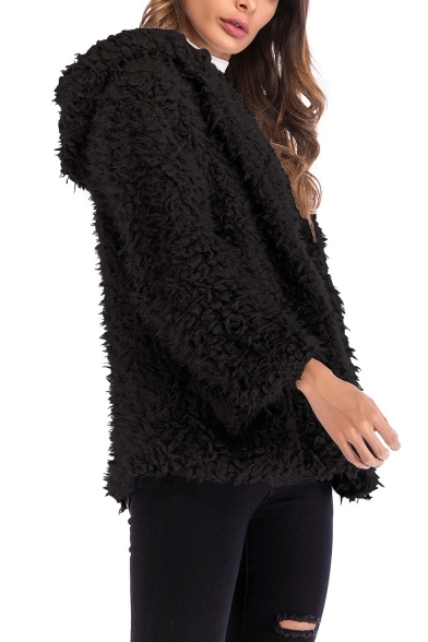 Womens Winter Fashion Plain Hooded Long Sleeve Faux Fur Fluffy Teddy Coat