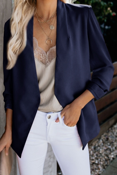 Chic Solid Color Collarless Open Front Long Sleeve Blazer Coat