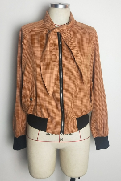 Classic Check Plaids Tie Collar Long Sleeve Flap Pocket Zip Up Yellow Cropped Bomber Jacket