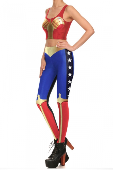 Funny Cartoon Character Cosplay Costume Scoop Neck Sleeveless Mid Waist Skinny Pants Co-ords for Women, LM556451