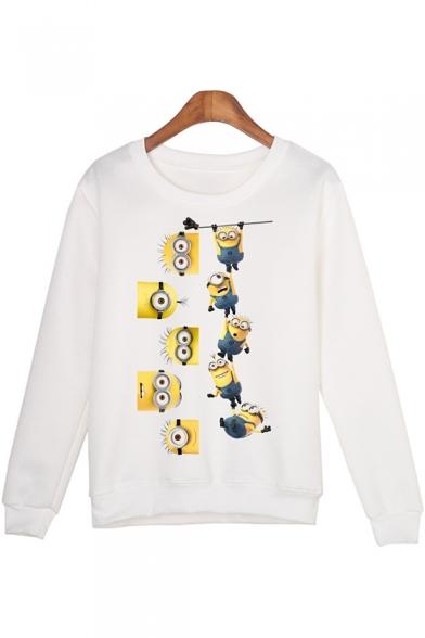 Funny Cartoon Minions Print Round Neck Long Sleeve White Sweatshirt