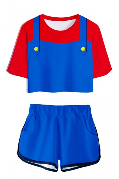 Funny Mario Cosplay Costume 3D Print Round Neck Short Sleeve Tee with Dolphin Shorts Co-ords, LM556086