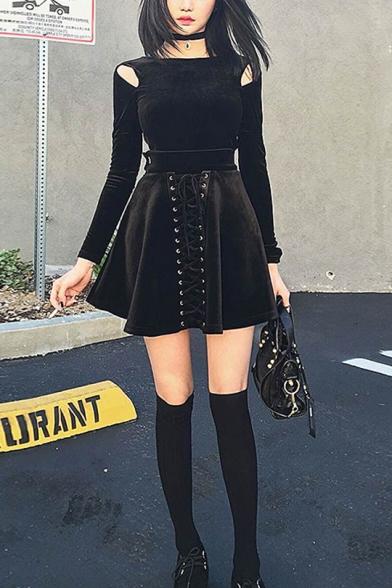 Girls New Fashion High Waist Lace-Up Front Plain Mini Black A-Line Skirt
