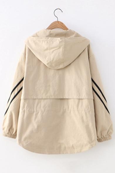 Girls Simple Stripe Long Sleeve Hooded Zip Up Casual Loose Jacket Coat