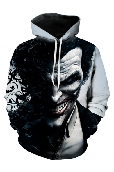 Hot Fashion Cool Joker 3D Printed Long Sleeve Black and Grey Loose Pullover Hoodie