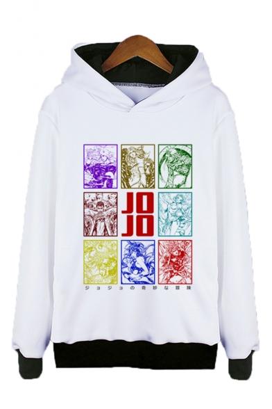 Jojo Popular Comic Figure 3D Printed Long Sleeve Unisex White Pullover Hoodie