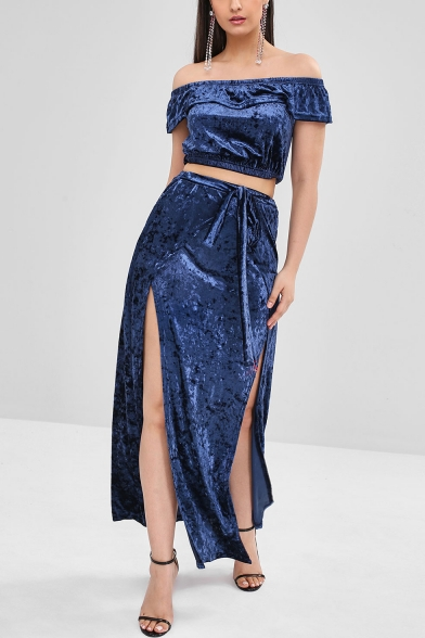 Ladies Elegant Off the Shoulder Blue Plain Velvet Short Sleeve Crop Top with Drawstring Maxi Skirt Split Sides Co-ords
