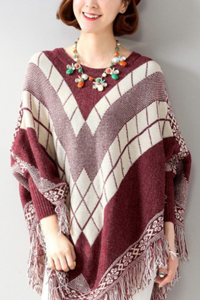 Ladies Fashion Geo-Tribal Print Tassel Hem Batwing Sleeve Round Neck Boxy Cape Sweater, LM557076, Burgundy;camel;gray;black-green