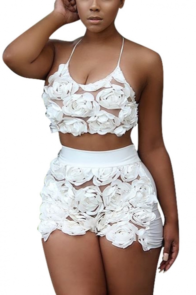 Ladies Sexy Plain Floral Organza Halter Top with Slim Fit Shorts Co-ords