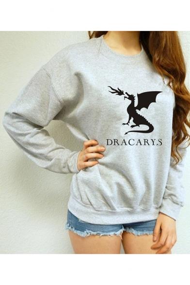 Leisure DRACARYS Letter Dinosaur Print Long Sleeve Round Neck Grey Pullover Sweatshirt