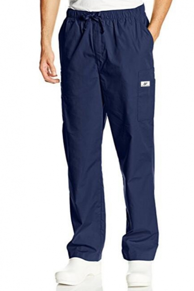 Mens New Fashion Simple Plain Loose Fit Casual Straight Cargo Pants with Side Pocket