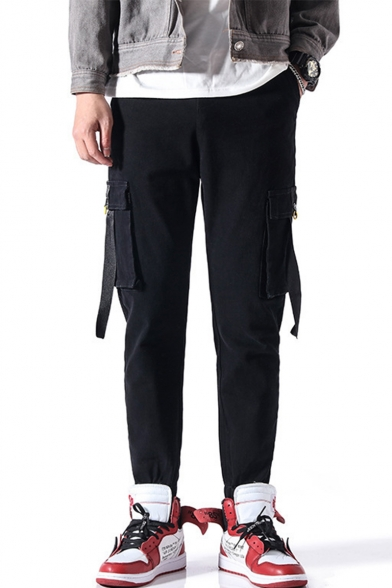 Mens New Fashion Solid Color Ribbon Embellished Straight Casual Cargo Pants with Side Pocket