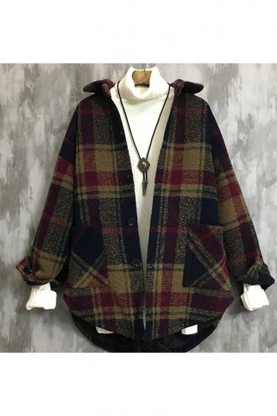 Mens Unique Classic Plaid Print Open Front Lapel Collar Long Sleeve Winter Sweatshirt Coat