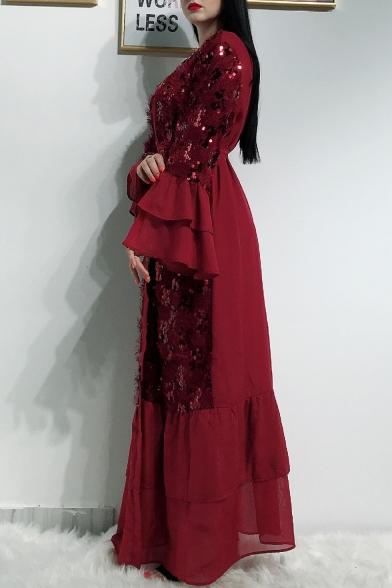 Moslem Bell-Cuff Bow-Tied Waist Sequined Panelled Ruffles Floor Length Maxi Cardigan Dress