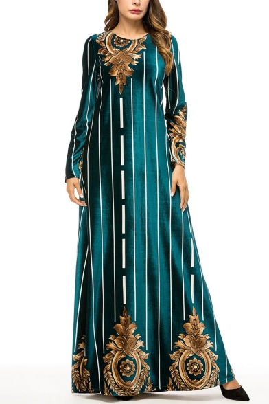 Moslem New Stylish Womens Round Neck Long Sleeve Striped Dark Green Swing Maxi Dress