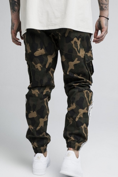 New Arrival Hot Camouflage Printed Contrast Stripe Side Flap Pocket Mens Casual Sports Cargo Pants