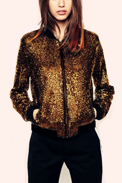 New Arrival Stand Up Collar Zip Up Regular Fit Sequined Baseball Jacket