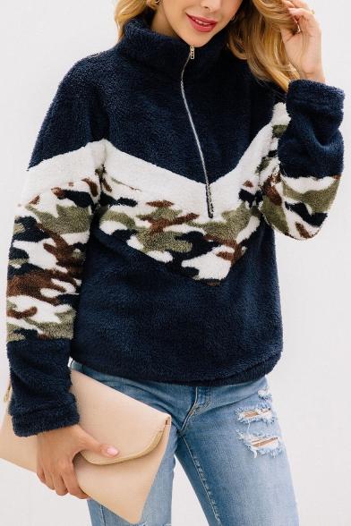New Fashion Camouflage Print Half-Zip Stand Collar Long Sleeves Color Block Fluffy Teddy Sweatshirt