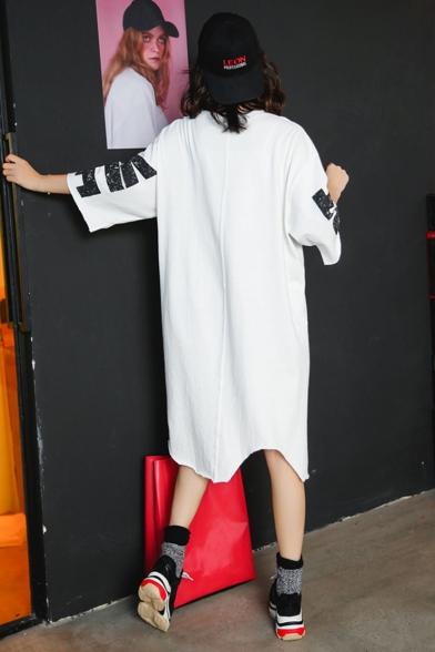 New Fashion Round Neck Half Sleeve Letter Slit Loose Casual Asymmetrical T-Shirt Midi Dress