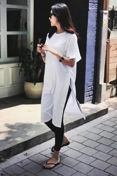 New Fashion Round Neck Short Sleeve Striped Slit White Loose Shift T-Shirt Midi Dress