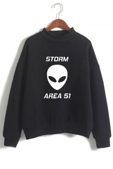 New Stylish Alien Letter Storm Area Printed Mock Neck Long Sleeve Casual Loose Sweatshirt
