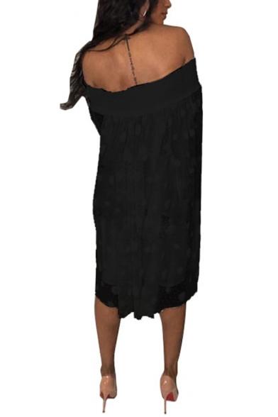 New Stylish Womens Off Shoulder Long Sleeve Polka Dot Printed Ruffled Midi Shift Dress