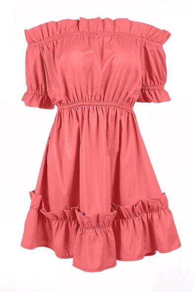 New Trendy Boat Neck Ruffles Puff Sleeve Sashes Plain A-Line Mini Dress