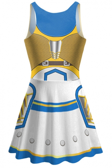 New Trendy Scoop Neck Sleeveless Cosplay 3D Printed Mini A-Line Pleated Skater Dress