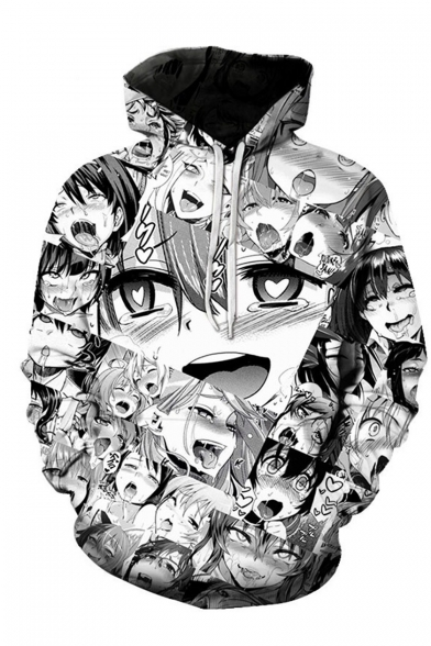 Popular Ahegao Cartoon Comic Manga Faces 3D Printed Black and White Long Sleeves Round Neck Pullover Hoodie