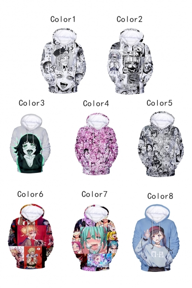 Popular Ahegao Cartoon Comic Manga Faces Pattern Long Sleeves Pullover Hoodie