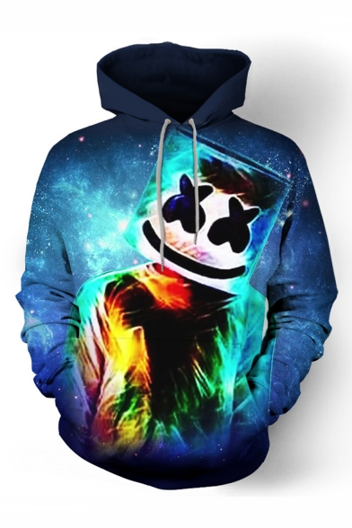 Popular DJ Smile Face Galaxy 3D Printed Drawstring Hooded Long Sleeve Blue Hoodie