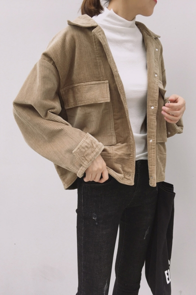 Preppy Chic Peaked Lapel Collar Single Breasted Corduroy Cropped Jacket with Big Flap Pocket