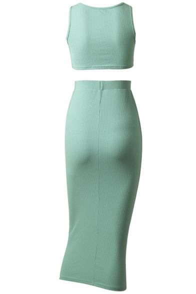 Scoop Neck Sleeveless Tank Tee with Elastic Waist Midi Skirt Stretch Green Two Piece Set